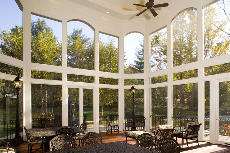 Screened Porch Interior : Screened porch with outdoor fireplace maryland custom