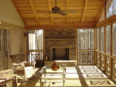 Screened Porch With Outdoor Fireplace Maryland Custom Outdoor