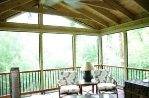 PT screened porch with Mahogany decking maryland