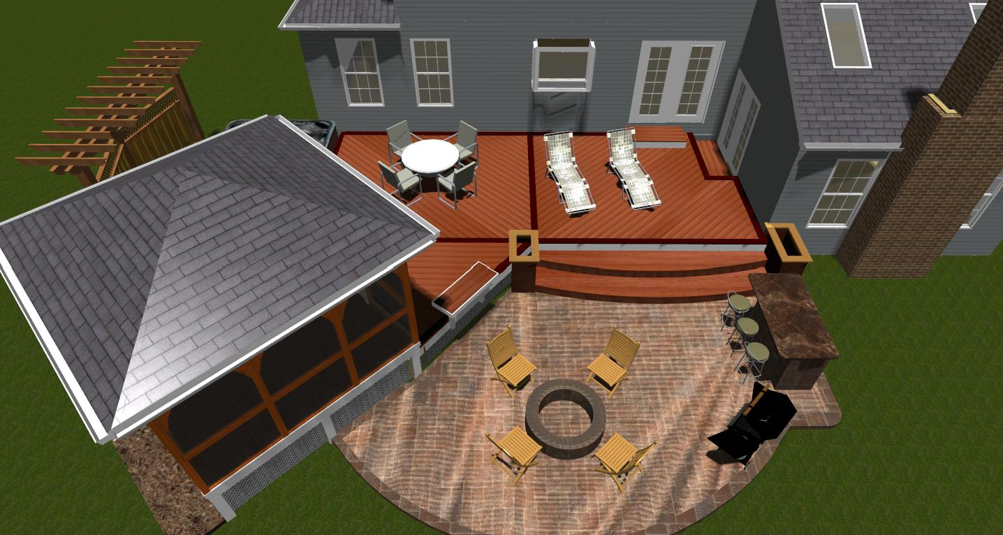 Composite decks maryland custom outdoor builder decks porches silver spring patio deck gazebo and pergola design rendering plan baanklon Images