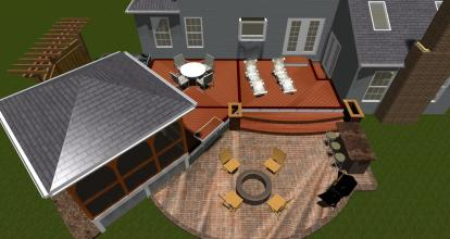 Silver Spring patio deck gazebo and pergola design rendering plan