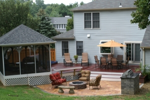 Archadeck of Maryland outdoor space with gazebo, firepit, grill area, privacy fence and much more