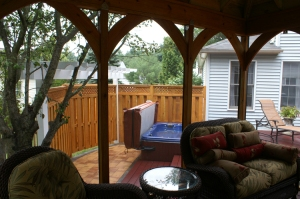 View from inside the detached cabana style gazebo by Archadeck of Maryland