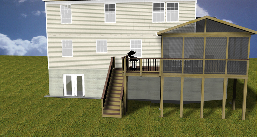 Design renderings maryland custom outdoor builder for Second story deck cost