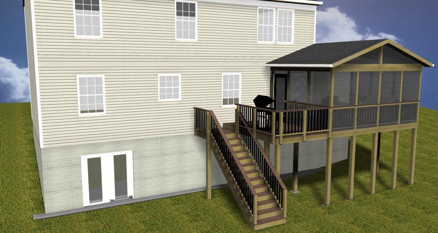 Deckorator balusters maryland custom outdoor builder for Deck designs over walkout basement