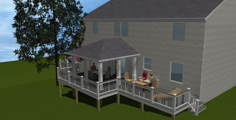 Design rendering prepared for Chevy Chase, MD porch and deck by Archadeck of Maryland