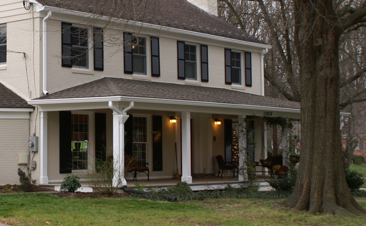 Maryland colonial house arched portico maryland custom for Colonial front porch ideas