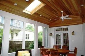 Three season room with cedar ceiling and slate floor