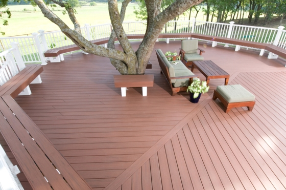 "AZEK decking in beautiful ""Redland Rose""."